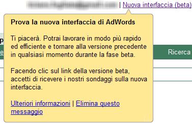 Nuova interfaccia per AdWords in versione beta