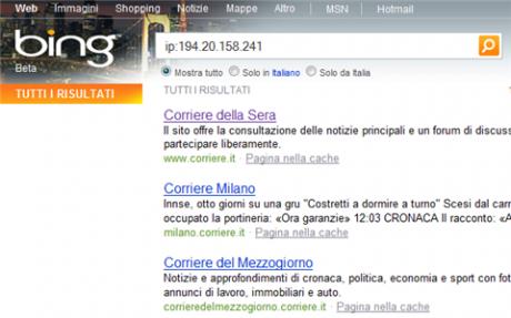 Bing mostra i domini associati allo stesso indirizzo IP
