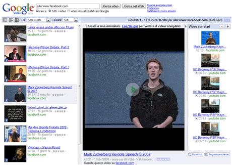Google Video indicizza i video presenti su Facebook