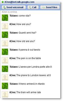 Alcune semplici traduzioni con Google Talk