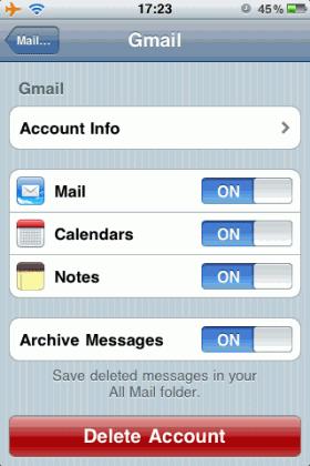 iPhone OS 4 salva le note su Gmail