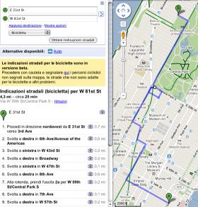 Itinerari in bicicletta sulle mappe di Google