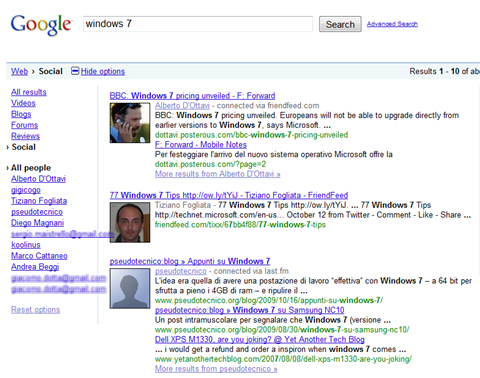 risultati windows 7 social search